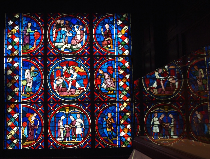 Stained glass and reflection