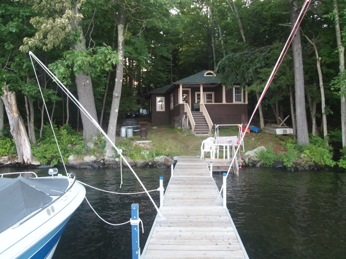 Looking from the dock to the cottage
