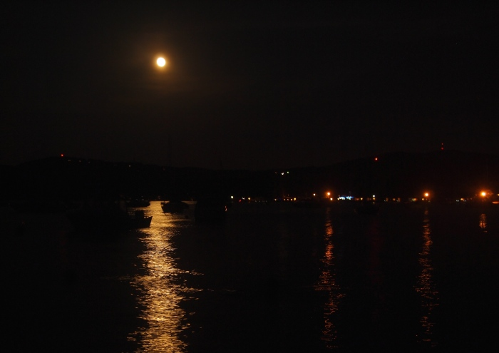 Full moon over Sanders Bay on Lake Winnipesaukee