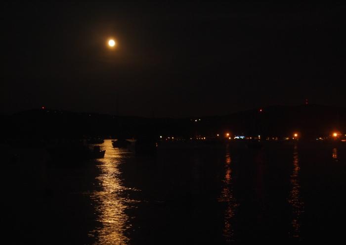 Full moon over Sanders Bay on Lake Winnipesaukee