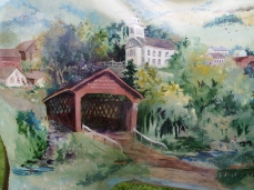 Covered bridges painted on the moose