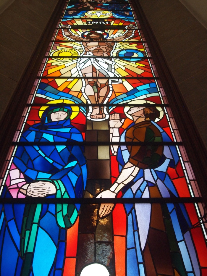 Stained glass of Christ on the cross