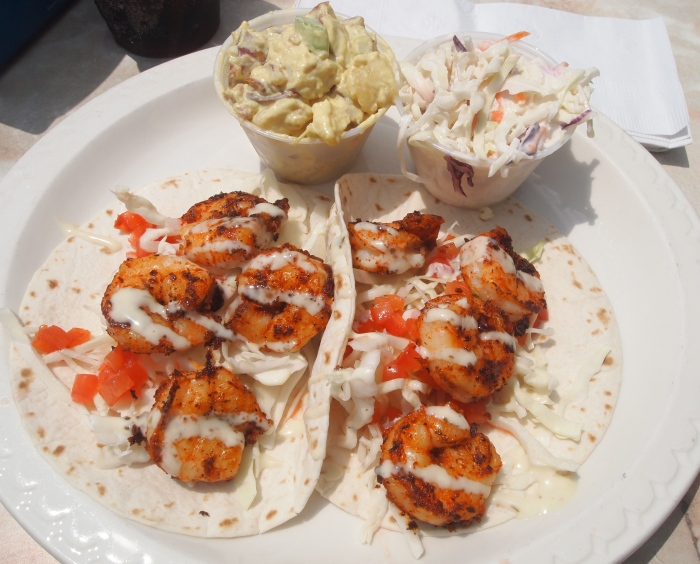 Blackened shrimp tacos for lunch