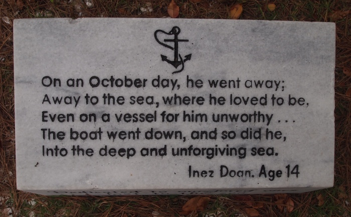 a plaque with the words of 14-year-old Inez Doon