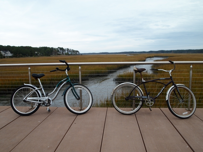 crossing the marsh on our bicycles