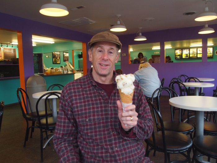 Mike eats a huge ice cream cone at The Island Creamery