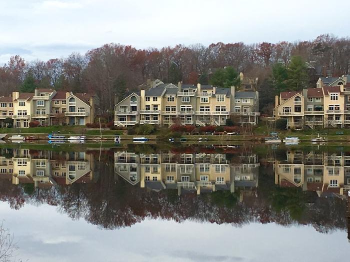 Reflections on a gray day around Lake Audubon in Reston