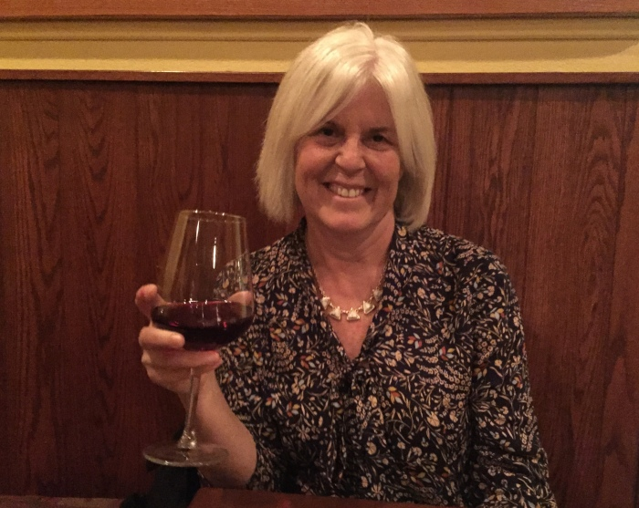 Me toasting our anniversary at the Press Room in Shepherdstown