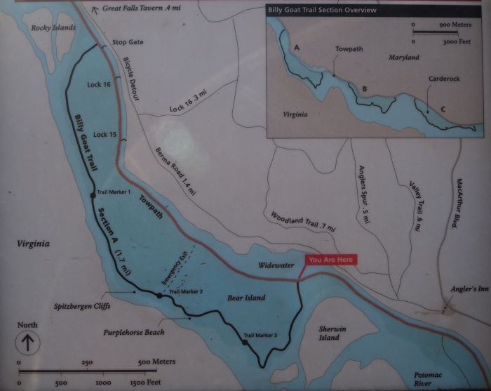 map of Billy Goat Trail at the entrance to the trail