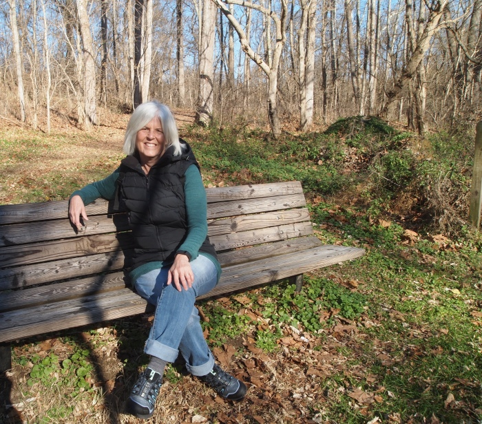me on a bench at Snavely Ford Trail