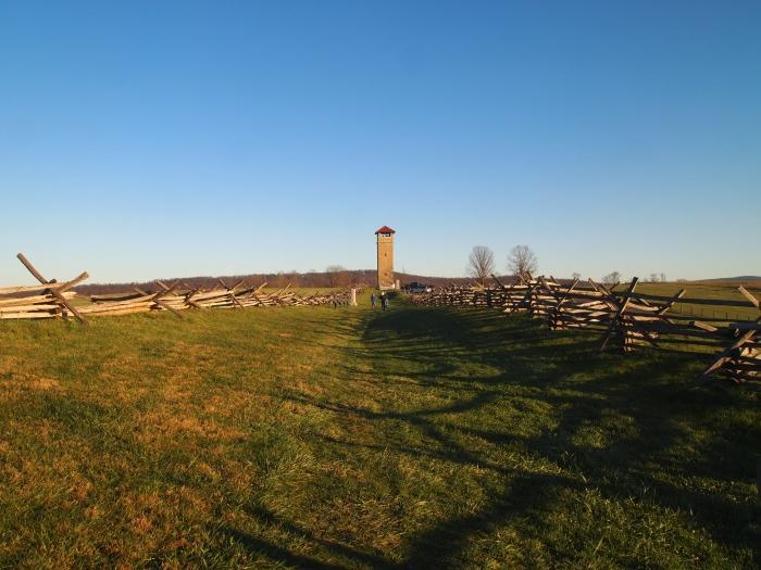 the tower overlooking the Sunken Road