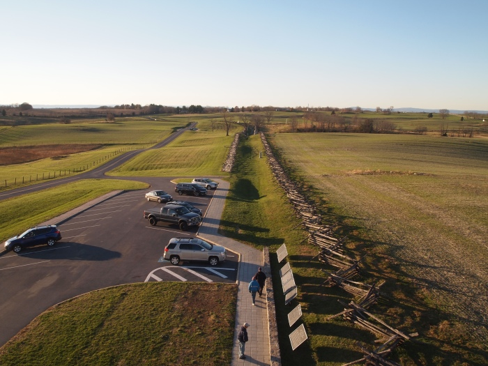 view of the Sunken Road from the tower