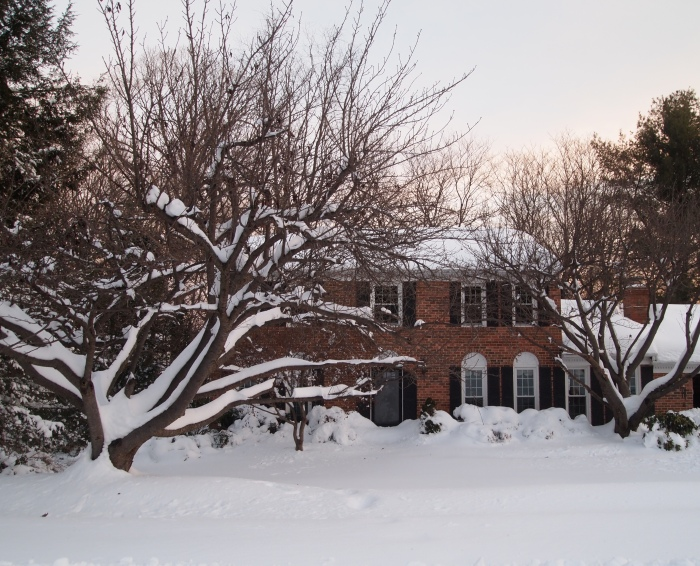 our house hunkered down in the snow