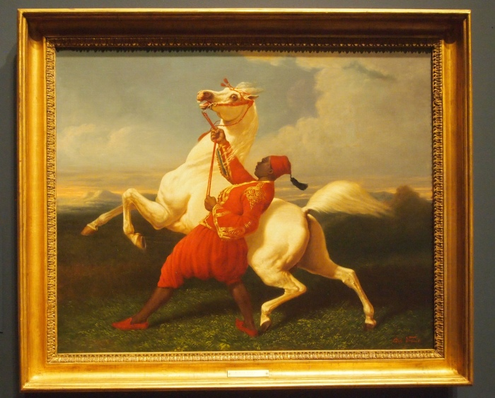 Carle Vernet - A Groom Holding an Arab Stallion (ca. 1830)
