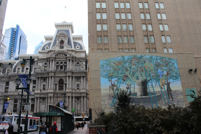 City Hall on the left, mural on the right