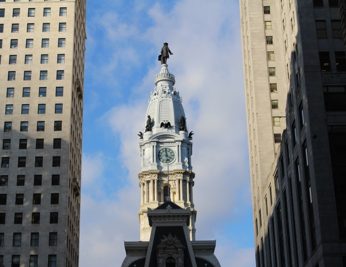 Bronze statue of city founder William Penn on the central tower of City Hall
