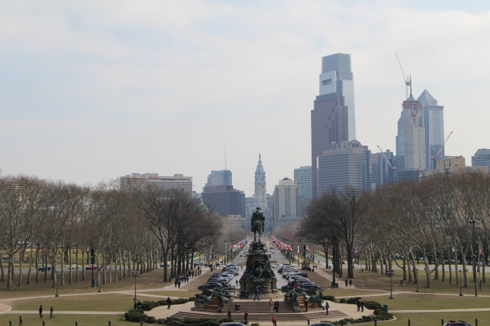 view of Benjamin Franklin Parkway and Philadelphia from the steps of the museum