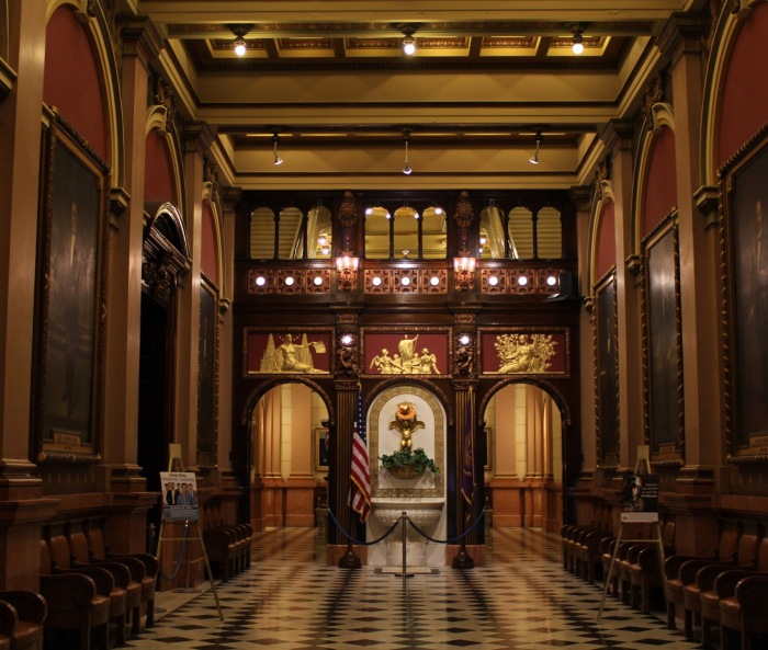 Entry hall at the Masonic Temple