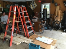 The contractors set up in the garage