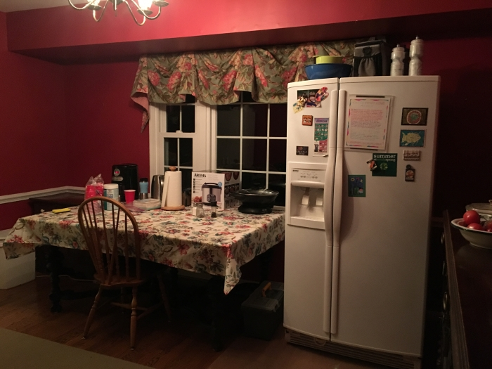 Makeshift kitchen in dining room