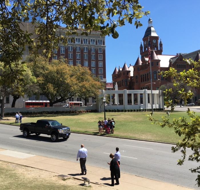 "View from the Grassy Knoll - the ""X"" on the road marks the spot where Kennedy was shot the second time"