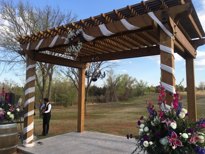 the pergola at the winery