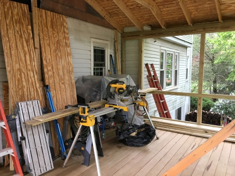 screened porch and tools