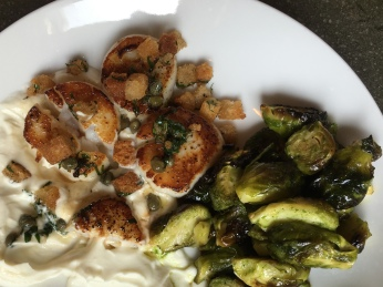 scallops on cauliflower puree with brussels sprouts