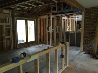 family room to knee wall to kitchen and laundry room