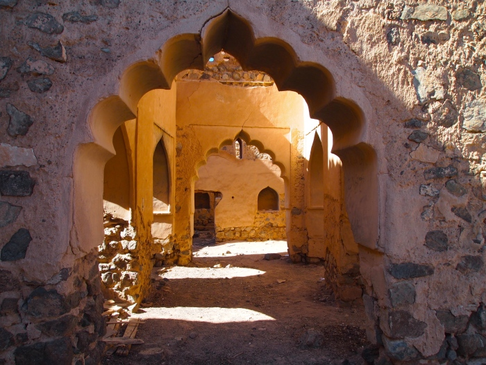 Curvy arches at ruins in Oman