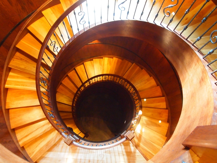 curving staircase at a Virginia winery
