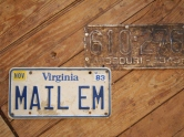 license plates on the floor