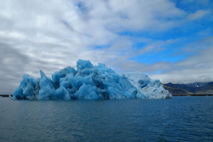 The edges of glaciers that have calved from a larger glacier and end up at Jökulsárlón Glacier Lagoon in South Iceland