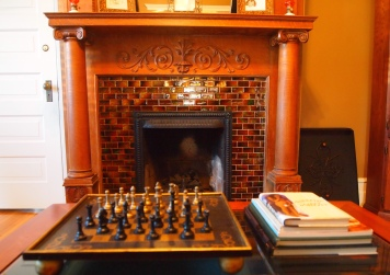 chess board and fireplace
