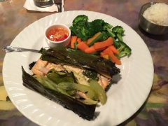 salmon in banana leaves at Courtside Thai