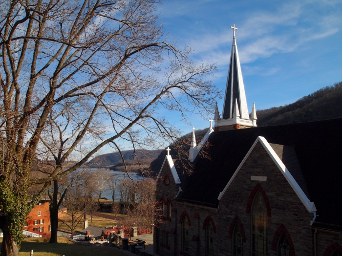 view above St. Peter's Roman Catholic Church in Harper's Ferry, West Virginia
