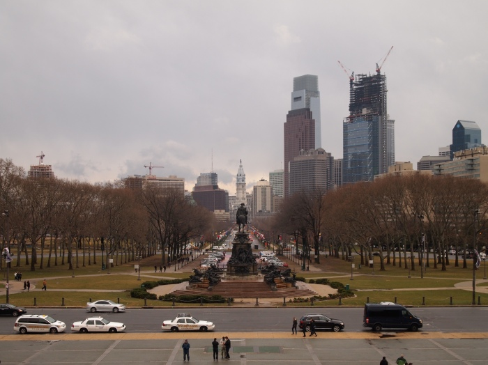 View of Benjamin Franklin Parkway from the steps of the Philadelphia Museum of Art