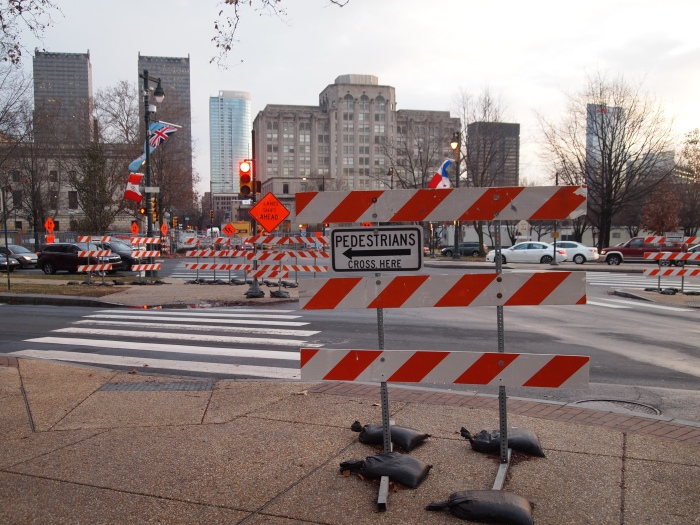 I guess pedestrians go that way....