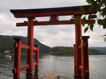 Hakone Shrine's torii in Ashi Lake