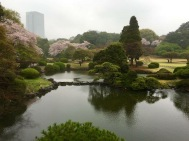 view from the Kyu Goryo-tei Pavilion at Shinjuku Gyoen