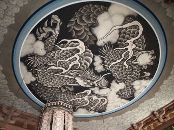 dragon on the ceiling at Ryuo-den, the Dragon King Hall, in Kencho-ji Zen Temple in Kamakura