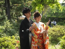 bride & groom at Sankei-en