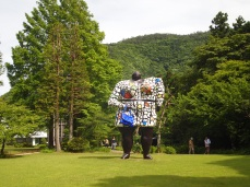 all dressed up and no place to go at the Hakone Open Air Museum