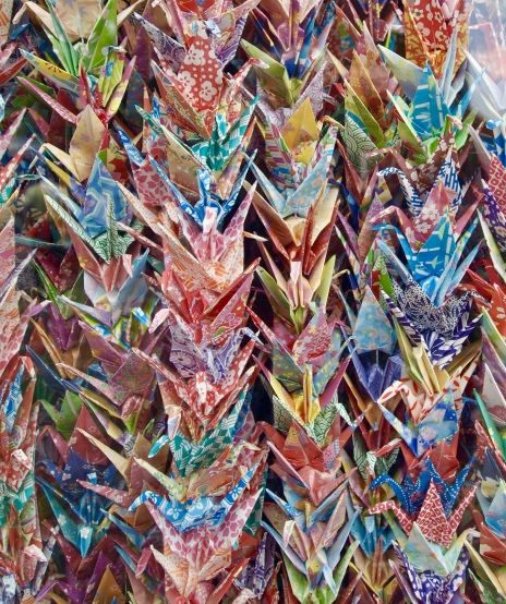 Paper cranes for peace at the Children's Peace Monument