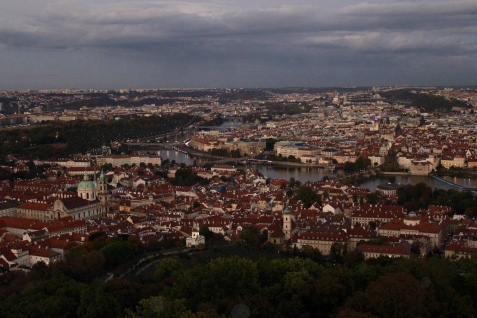 view of Prague from Petrin Lookout Tower