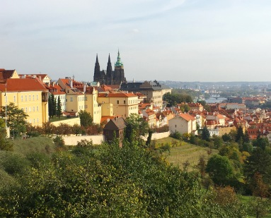 view of Prague (St. Vitus Cathedral & the Vltava River) from the terrace beneath Strahov Monastery