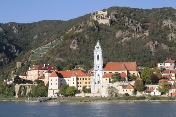 Durnstein in the Wachau Valley from across the Danube