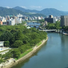 view down the Motoyasu River to the A-Bomb Dome