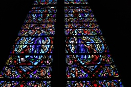 two-story stained glass windows at the Heinz Chapel
